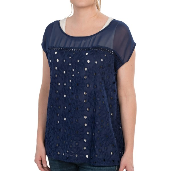 CLOSEOUTS . Capped in soft chiffon, this August Silk Options shirt is a pretty, oversized eyelet pattern with intermittent daisies and a crochet strip at the yoke. Available Colors: PARISIAN NAVY, WHITE. Sizes: S, M, L, XL.