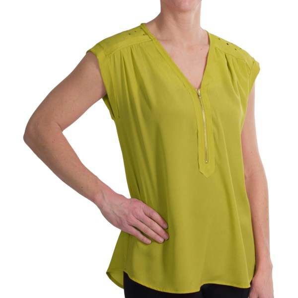 August Silk Options Laser-Cut Shirt - Zip Neck, Sleeveless (For Women)