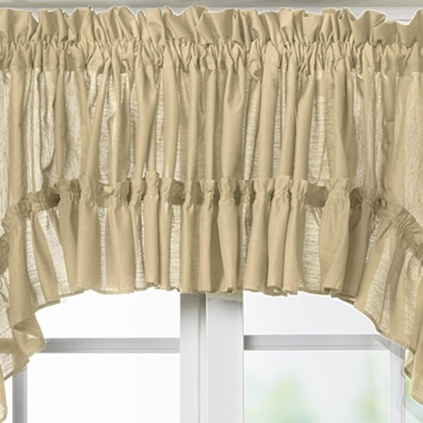 CLOSEOUTS . A window topper like Ellis Curtainand#39;s Stacey ruffled valance is sure to add instant romance and personality to any room. Available Colors: MERLOT, BLACK, SAGE, ICE CREAM, SLATE, BERRY, ALMOND, HARVEST, MAIZE, WHITE, NAVY, RED.