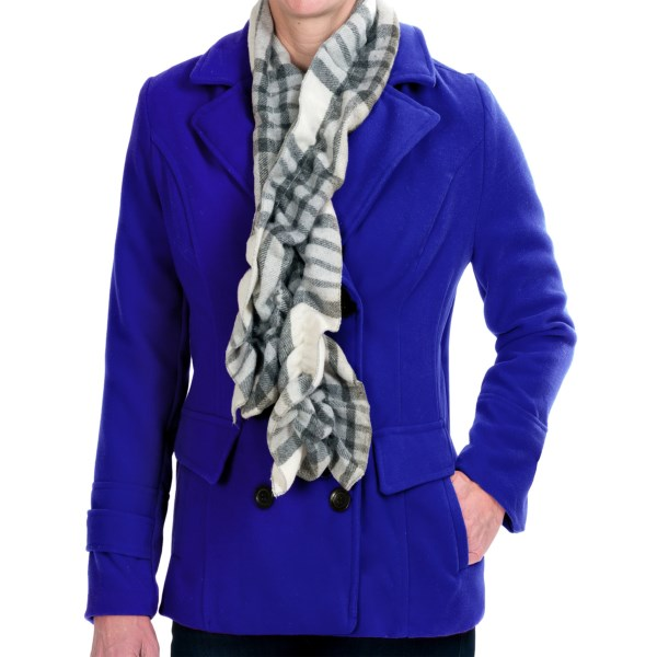 CLOSEOUTS . Staying warm has never looked so fabulous! Harve Benardand#39;s pea coat with scarf arrives with a jaunty, naturally crinkled scarf already attached, and the tailored exterior is soft as can be with its brushed, felt-like hand. Available Colors: BLACK, KELLY GREEN, FUCHSIA, RED, COBALT. Sizes: S, M, L, XL.