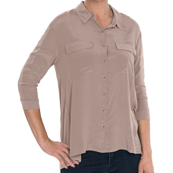 CLOSEOUTS . A delicious knit-and-woven blend, this Avec shirt steps into the spotlight with a tailored crepe de chine front, studded in exquisite gold-bead buttons and followed up with a superlight viscose knit at the back. Available Colors: BLACK, BRIGHT COBALT, FRENCH MOSS, FRENCH TAUPE. Sizes: XS, S, M, L.