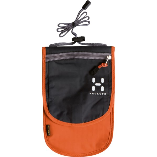 CLOSEOUTS . Haglofs travel pouch keeps your essential close by and your hands free. The adjustable neck strap and belt attachment give you multiple carry options. Available Colors: MANDARIN/CHARCOAL.