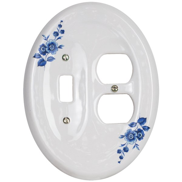 CLOSEOUTS . Dress up those necessary electrical fixtures in fine porcelain! Lenapeand#39;s Classic Electrical Combination switchplate is designed to accommodate one light switch and two outlets. Available Colors: WHITE, BONE, ROSE, BLUE FLOWER, WATERCOLORS.