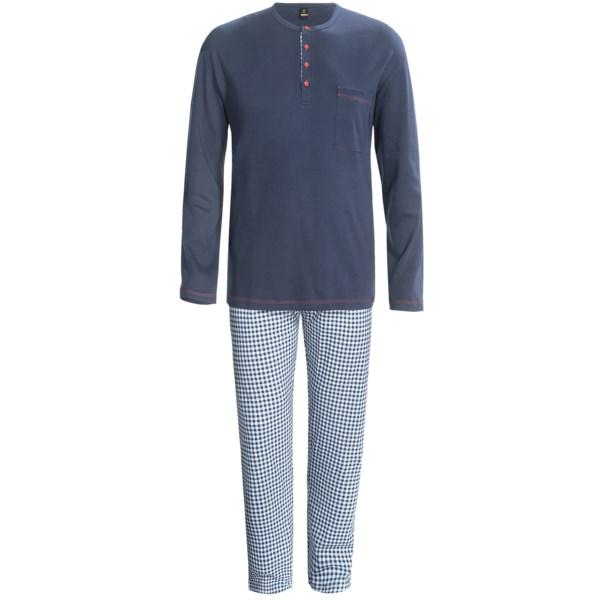 Calida Family Time Henley Pajamas - Interlock Cotton, Long Sleeve (For Men)