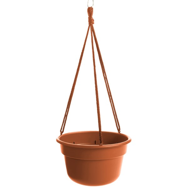 """CLOSEOUTS . Dress up a porch with help from Garden Sceneand#39;s 10"""" Dura Cotta hanging flower basket, designed to mimic the look of clay without worry of chips, cracks or discoloration. Available Colors: EVERGREEN, GRANITE, MUSLIN STONE, TERRA COTTA STONE, WASABI STONE, TERRA COTTA, LIVING GREEN."""