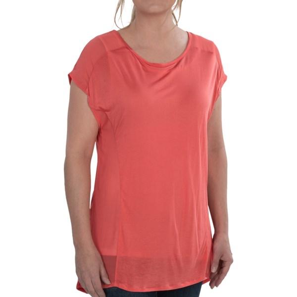 August Silk Hi-Low Sheer Shirt - Split Back, Short Sleeve (For Women)