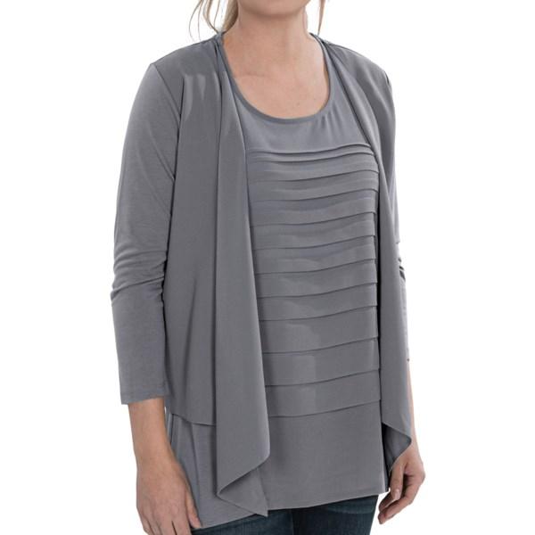 August Silk Drape Demi Cardigan Sweater - 3/4 Sleeve (For Women)