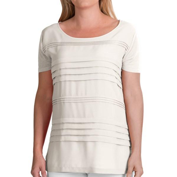 August Silk Pleated Jewel Neck Shirt - Linen Blend, Short Sleeve (For Women)