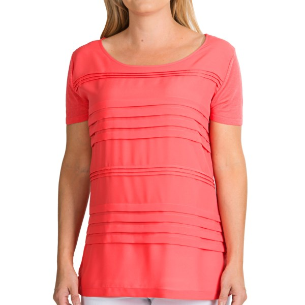 August Silk Pleated Jewel Neck Shirt - Linen Blend, Short Sleeve (For Women)
