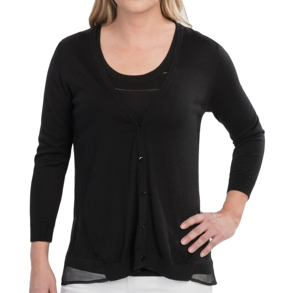 CLOSEOUTS . A new kind of hybrid has hit the fashion scene, and this August Silk cardigan sweater gives it a little sizzle in a soft rib knit thatand#39;s beautifully married to filmy, flowing crepe. Available Colors: BLACK, ASH BLONDE, COTTONBALL, AFTERNOON SKY. Sizes: S, M, L, XL.