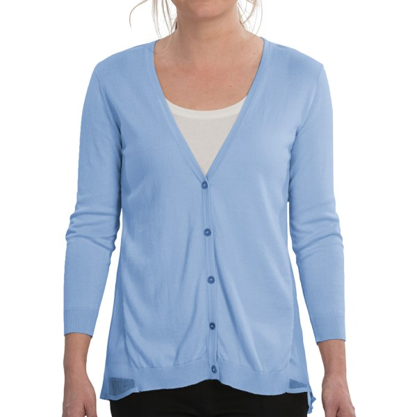 August Silk Hybrid Cardigan Sweater - 3/4 Sleeve (For Women)