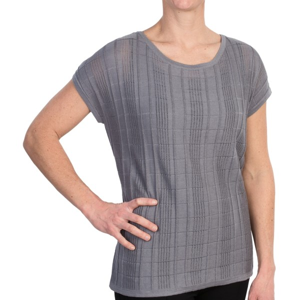 August Silk Tone-on-Tone Knit Shirt - Short Sleeve (For Women)