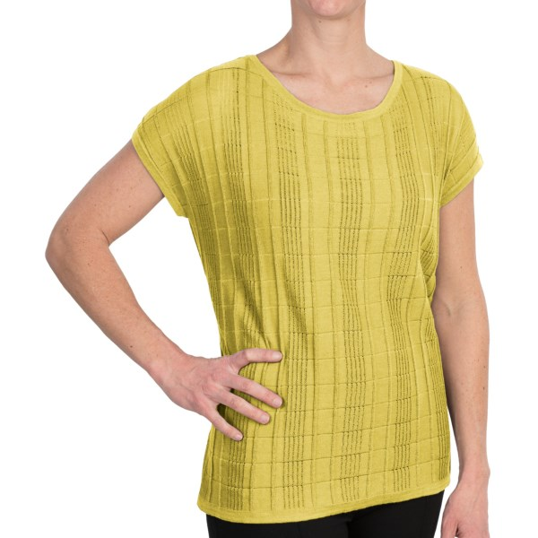 August Silk Tone-on-Tone Knit Shirt - Short Sleeve (For Women)