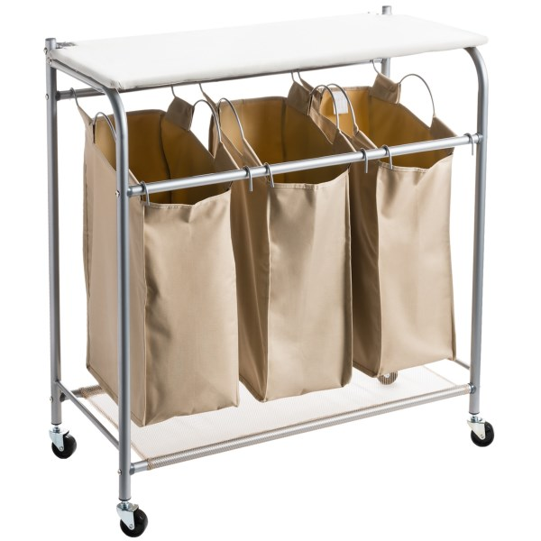 Overstock .   A compact laundry solution for sorting clothes and pressing out wrinkles, the everfreshand#174; Triple Laundry sorter with Iron Board is treated with environmentally friendly enzymes that continually reduce odor. Available Colors: Sand Pebble Taupe.