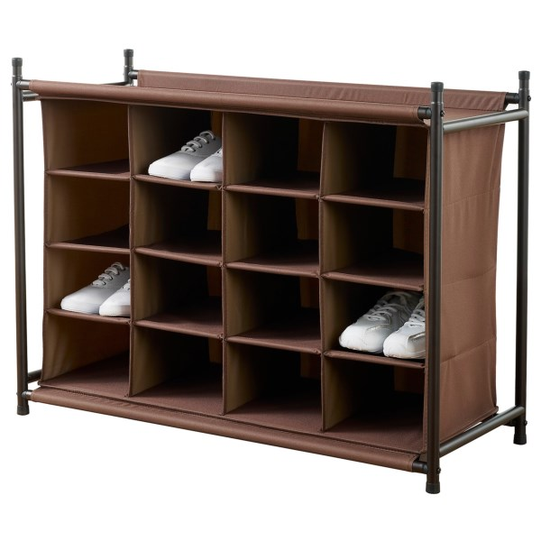 Overstock . With space for up to 16 pairs of shoes, neatfreak!and#174; 16-compartment shoe organizer is a great way to corral the footwear party currently going wild in your entryway, porch or mudroom. Available Colors: RICH BROWN.