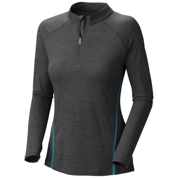 Mountain Hardwear Integral Pro T Shirt   UPF 25  Zip Neck  Long Sleeve (For Women)   SHARK (S )