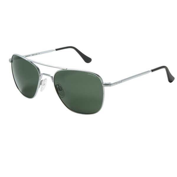 CLOSEOUTS . Standard issue for taste-makers and trend-setters, Randolphand#39;s Aviator sunglasses feature distortion-free clarity thanks to AGX glass lenses. Available Colors: MATTE BLACK/AGX/BAYONET TEMPLE, MATTE CHROME/AGX/BAYONET TEMPLE, GUNMETAL AGX/SKULL TEMPLE, BRIGHT CHROME/GREY/BAYONET TEMPLE, MATTE CHROME/GREY/BAYONET TEMPLE, GUNMETAL/GREY/BAYONET TEMPLE, BRIGHT CHROME/GREY/SKULL TEMPLE, MATTE CHROME/GREY/SKULL TEMPLE, MATTE CHROME/GREY PC/BAYONET TEMPLE, BLACK/GREY PC/SKULL TEMPLE, BRIGHT CHROME/GREY PC/SKULL TEMPLE, MATTE CHROME/GREY PC/SKULL TEMPLE, BRIGHT CHROME/TAN/BAYONET TEMPLE, MATTE CHROME/TAN/BAYONET TEMPLE, BRIGHT CHROME/TAN/SKULL TEMPLE, MATTE CHROME/TAN/SKULL TEMPLE, MATTE CHROME/SKULL/AGX, MATTE BLACK/BAYONET/TAN, GUN METAL/SKULL/TAN, GUN METAL/SKULL/GREY PC, GUN METAL/BAYONET/TAN, BRIGHT CHROME/SKULL/AGX, BLACK/SKULL/TAN, MATTE CHROME/AGX/SKULL TEMPLE, MATTE BLACK/TAN/BAYONET TEMPLE, GUN METAL/TAN/SKULL TEMPLE, GUN METAL/GREY PC/SKULL TEMPLE, 28, GUN METAL/TAN/BAYONET TEMPLE, BRIGHT CHROME/AGX/SKULL TEMPLE, BLACK/TAN/SKULL TEMPLE, BLACK/GREY/SKULL TEMPLE, GUNMETAL/GREY PC/SKULL TEMPLE.