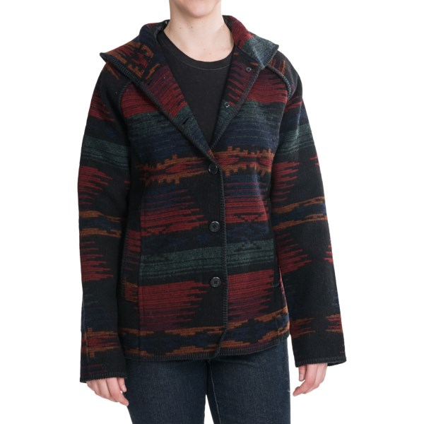 CLOSEOUTS . A legendary, all-American brand, Woolrich imbues its Sandy Run coat with richly dyed patterns reminiscent of Native American blankets -- and binds up the package with beautifully executed whip-stitching. Wool milled in Pennsylvania. Available Colors: BLACK STRIPE, CHARCOAL HEATHER STRIPE. Sizes: S, M, L, XL, 2XL.