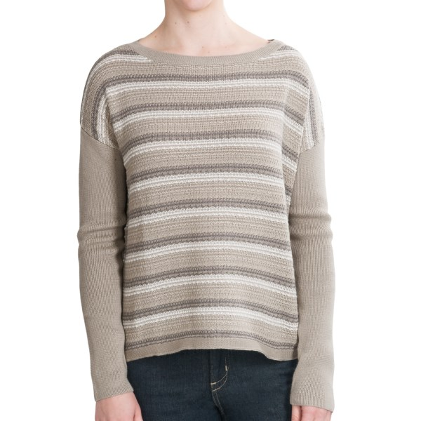 CLOSEOUTS . The unique garter stitching of Woolrichand#39;s Arcana boat neck sweater adds subtle texture and color, and the draping fit keeps things nice and relaxed. Available Colors: BLACK, BRITISH TAN, DEEP RUBY. Sizes: XS, S, M, L, XL, 2XL.