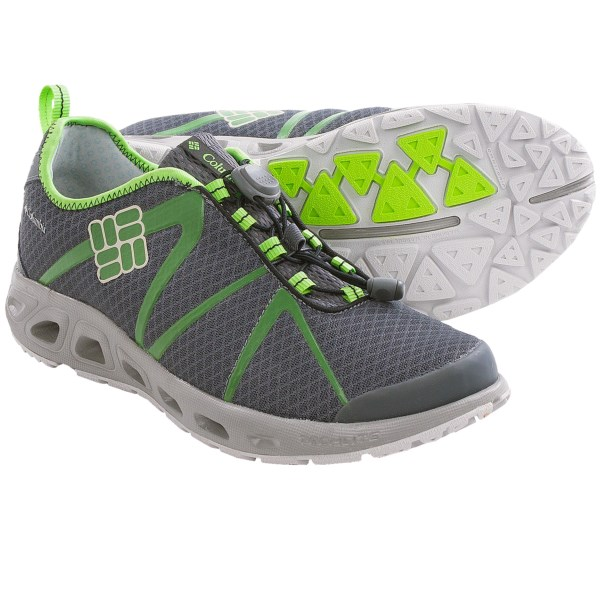 CLOSEOUTS . A hybrid that moves effortlessly from trail to water, Columbia Sportswear Powerdrain Cool shoes feature Omni-Freezeand#174; ZERO cooling technology and TechLiteand#174; midsole cushioning with drainage ports. Available Colors: FRESH KIWI/GREEN TEA, COOL GREY/HYPER BLUE, CHARCOAL/FLUORO GREEN. Sizes: 8, 8.5, 9, 9.5, 10, 10.5, 11, 11.5, 12, 13, 15, 7, 7.5, 14.