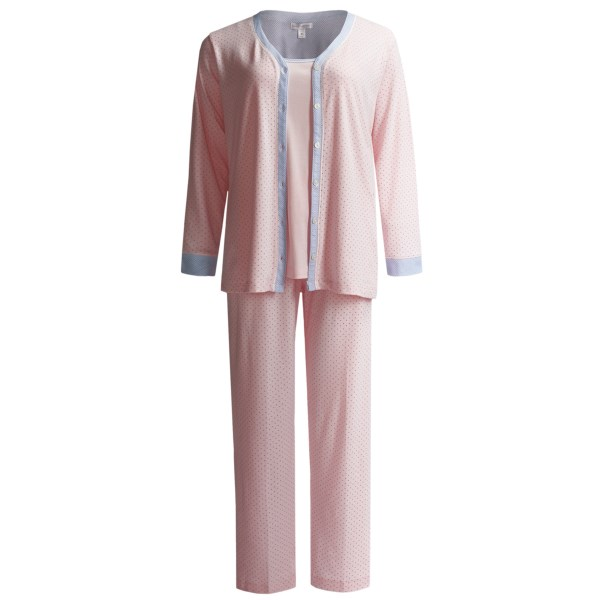 Carole Hochman Interlock Cotton Knit Pajamas - 3-Piece Set (For Plus Size Women)