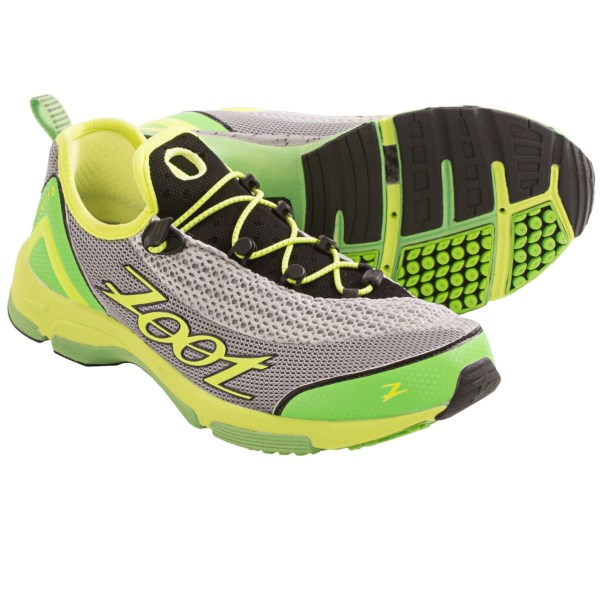 CLOSEOUTS . Zoot Sports Ultra Tempo 5.0 running shoes feature a stability design and sockless comfort for triathletes seeking quick transitions during training and on race day. Available Colors: GREY/ZOOT BLUE/VOLT, SILVER/GREEN FLASH/SAFETY YELLOW. Sizes: 10, 10.5, 11, 11.5, 12, 14, 7, 7.5, 8, 8.5, 9, 9.5, 13.