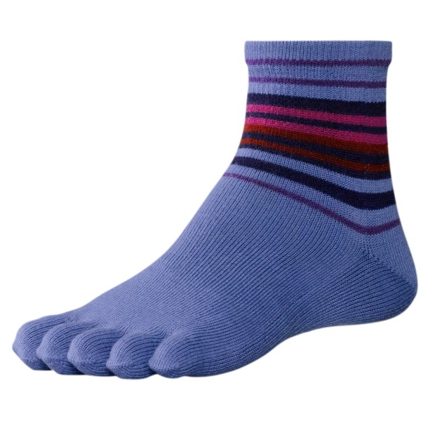 2NDS . Perfect for wearing with minimalist running shoes, SmartWooland#39;s Jovian toe socks are made of a moisture-wicking, odor-resistant and temperature-regulating merino wool blend with colorful stripes around the ankle. Available Colors: CHARCOAL HEATHER, POLAR PURPLE, DEEP SEA HEATHER. Sizes: M, L, S.