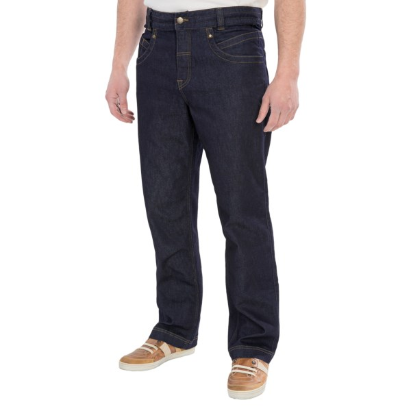 CLOSEOUTS . The soft, flexible denim of Royal Robbinsand#39; Eiger jeans is a much lighter weight and dries quicker than conventional denim, providing a stylish, comfortable option for both casual and outdoor wear. Available Colors: INDIGO.