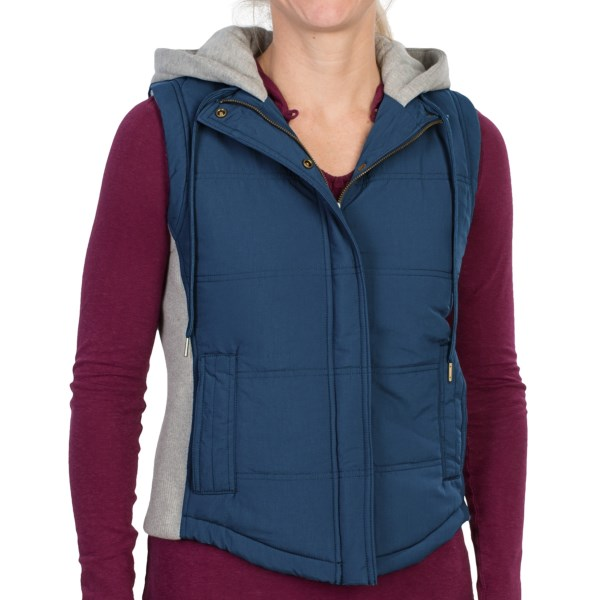 CLOSEOUTS . Part puffy vest, part cozy sweatshirt, Gramicciand#39;s Bellevue vest features a textured nylon body with soft, rib-knit sides, a full sweatshirt lining and hood, and oodles of comfort. Available Colors: MINERAL GREY, CARAVEL BLUE, ROCKY BROWN. Sizes: XS, S, M, L, XL.