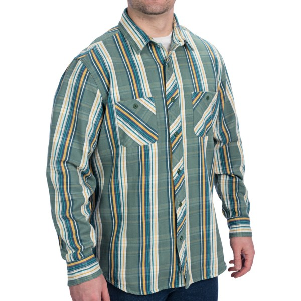 CLOSEOUTS . Woolrichand#39;s West Rim shirt is made of heavy knit flannel with a modern stripe pattern that shows a subtle western influence. Itand#39;s at home in the mountains and at scenic overlooks. Available Colors: PERSIMMON, SLATE, WHE WHEAT, DEEP AQUA, SPRUCE. Sizes: L.