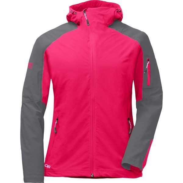 CLOSEOUTS . From Outdoor Researchand#39;s Ferrosi Collection, the Outdoor Research Ferrosi jacket offers super-stretchy, breathable soft shell performance -- a versatile layer that offers wicking, wind-resistant durability in an active design. Available Colors: ORCHID/CROCUS, POOL/HYDRO, SAND/BARLEY, BLACK, BLUEBIRD/GLACIER, TRILLIUM/PEWTER, GEM/PEWTER, CAIRN/WALNUT. Sizes: 2XS, XS, S, M, L, XL, 2XL.
