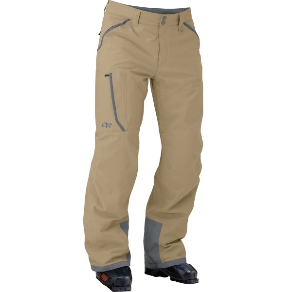 CLOSEOUTS . With plenty of room, weather protection, and articulation, Outdoor Researchand#39;s Blackpowder ski pants exude a laid-back style but still bring the performance features -- like waterproof breathable fabric and fully sealed seams -- that please a serious backcountry enthusiast. Available Colors: BLACK, PEWTER, CAFE/EARTH. Sizes: 2XS, XS, S, M, L, XL, 2XL.