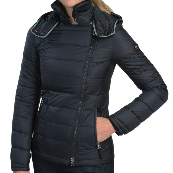 CLOSEOUTS . The Bogner Fire   Ice Yvett-D down jacket combines cosmopolitan style and sleek, low-bulk warmth. It has an asymmetrical front zip, a detachable hood with turn-down collar, and a form-flattering, quilted bar on the back. Available Colors: NAVY, GREEN, RED, PINK. Sizes: 4, 6, 8, 10, 12.