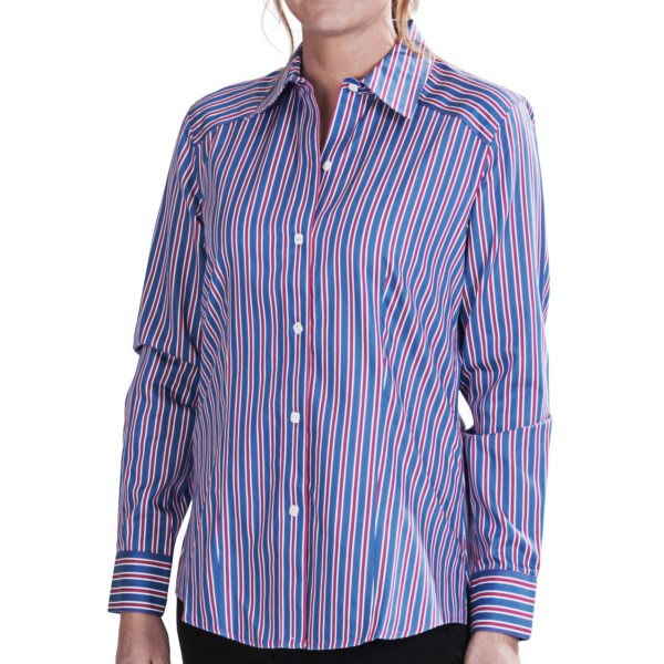 Foxcroft Multi-Stripe Fitted Shirt - No-Iron Cotton, Long Sleeve (For Women)