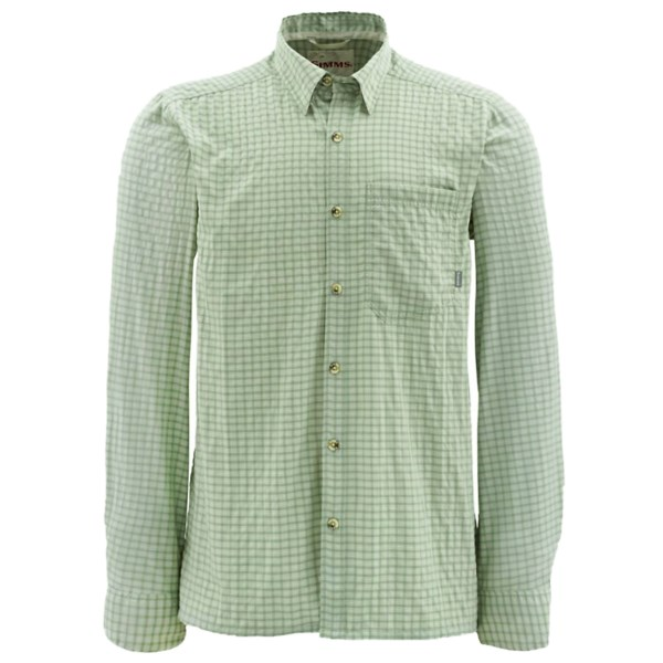CLOSEOUTS . The Simms Morada long sleeve shirt has a large enough front pocket to carry a fly box and is built from a lightweight nylon and polyester blend that wicks moisture. Available Colors: ASH GREY PLAID, GREEN PLAID, BLUE PLAID, STONE PLAID, TURTLE GRASS PLAID, TIDAL BLUE PLAID. Sizes: S, M, L, XL, 2XL, 3XL.