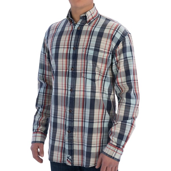 CLOSEOUTS . Vintage 1946and#39;s Cotton Maldives plaid shirt is simultaneously fresh and old-school, with multicolored plaid, antiqued buttons and thoroughly stonewashed cotton twill. Available Colors: ORANGE MULTI, LIGHT BLUE. Sizes: M, L, XL, 2XL.