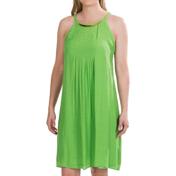 CLOSEOUTS . Reminiscent of sunshine and green apples, Chetta Band#39;s Jewel Neck dress is creatively pintucked in a lustrous blend of slub rayon and polyester. Faux necklace and sweet covered-button tab span the racerback. Available Colors: GREEN. Sizes: 4, 6, 8, 10, 12, 14, 16.