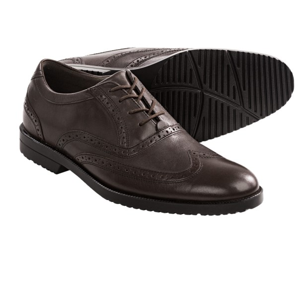 CLOSEOUTS . Enjoy elegant wingtip style without sacrificing comfort in Rockportand#39;s Darrick shoes. The leather upper has brogue details, adiPRENEand#174; cushioning and lightweight, non-fatiguing construction. Available Colors: BROWN. Sizes: 7, 8, 8.5, 9, 9.5, 10, 10.5, 11, 11.5, 12, 13.