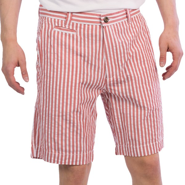 CLOSEOUTS . An awning-inspired stripe tops these Vintage 1946 Wide Seersucker shorts, adding an even more seaside-ready vibe to their summery appeal. Available Colors: RED/WHITE, OLIVE/WHITE.