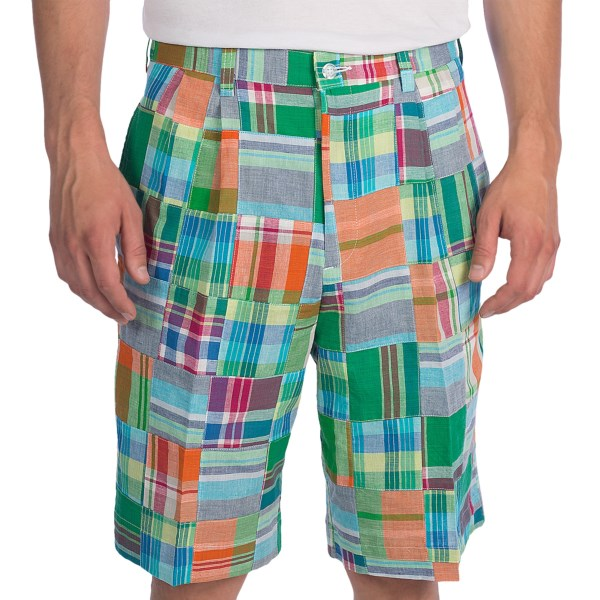 Berle Patch Madras Shorts - Pleated (for Men)