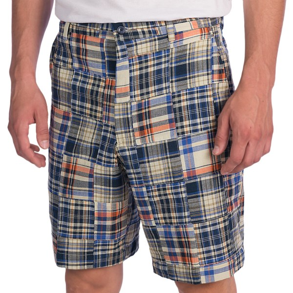 CLOSEOUTS . A pair of shorts to match your vibrant personality, Berleand#39;s Patch Indian Madras shorts are crafted of lightweight cotton in a contrast-stitched collection of colorful, brightly hued patches. Available Colors: YELLOW MULTI, OLIVE MULTI, OLIVE/TAN, LIGHT BLUE/TAN/NAVY, OLIVE/TAN/BURGUNDY.