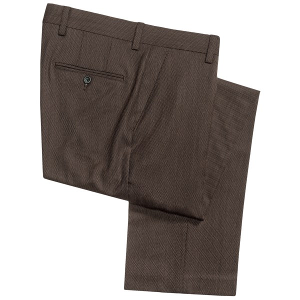 CLOSEOUTS . Weand#39;re loving what a little bit of color variation does for the herringbone design on these Barry Bricken wool dress pants; it visually pops! Available Colors: BROWN/BLACK, CHARCOAL/NAVY.