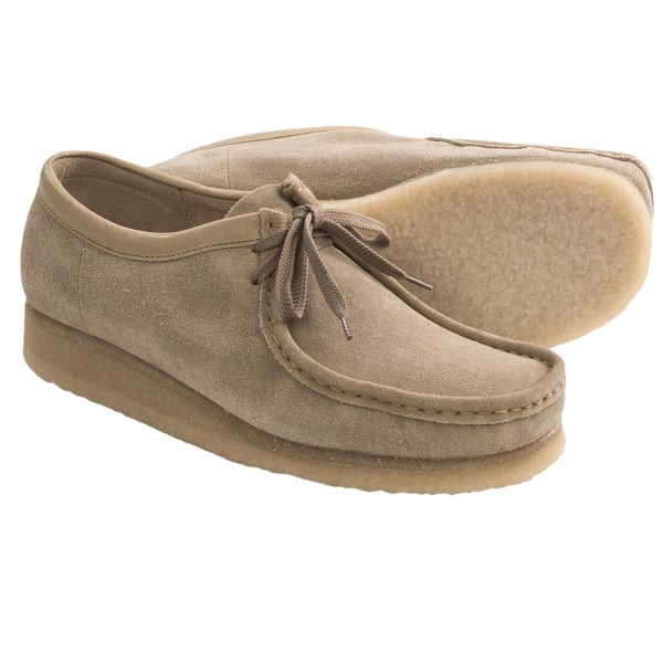 CLOSEOUTS . From Clarksand#39; Originals Collection, Clarks Wallabee shoes offer a moccasin-inspired, earthy look, complete with a thick, flexible crepe rubber sole that offers both grip and cushion. The simple, handstitched toe meets a two-eye lace at the instep. Available Colors: SAND, BEESWAX, TAUPE LEATHER, BROWN LEATHER, BLACK LEATHER. Sizes: 6, 6.5, 7, 7.5, 8, 8.5, 9, 9.5, 10, 10.5, 11, 11.5, 12, 13, 14, 15.