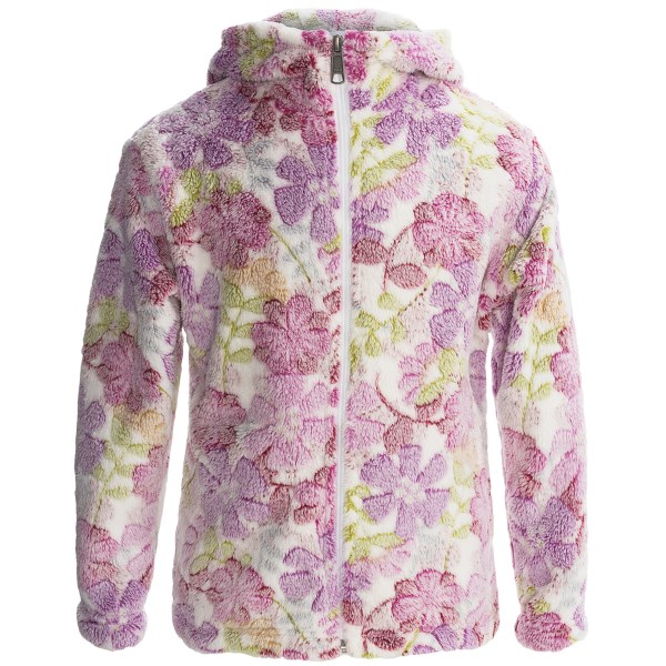 White Sierra Winter Blossom Bomber Hoodie (For Girls)