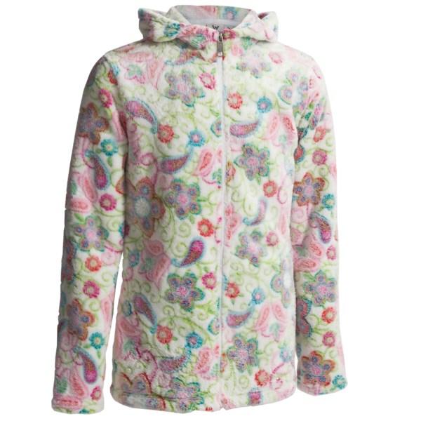 White Sierra Winter Blossom Bomber Hoodie (For Girls)