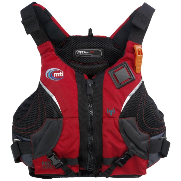 CLOSEOUTS . Featuring the ultimate womanand#39;s specific fit, MTI Adventurewearand#39;s PFDiva SE PFD life jacket boasts the Adjust-a-Bust memory foam that reduces discomfort by evening out pressure and providing optimal support. Available Colors: RED/DARK GREY. Sizes: S/M, L/XL.