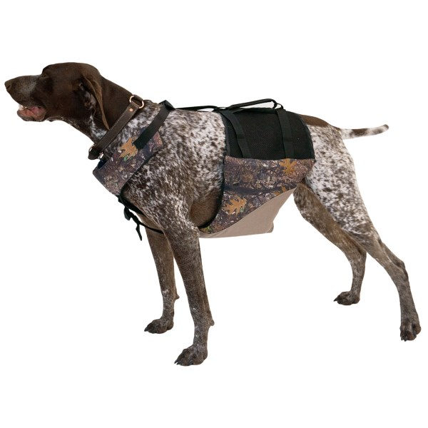 CLOSEOUTS . The MTI Adventurewear Underdog flotation vest places flotation under your dogand#39;s chest and neck, allowing him to maintain a more natural swimming position. Available Colors: KHAKI/CAMOUFLAGE. Sizes: XS, S, M, L, XL.