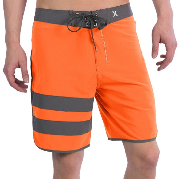 CLOSEOUTS . A favorite for surfers, beach bums and wake boarders alike, Hurleyand#39;s Phantom Block Party boardshorts are made of ultralight, super-stretchy and water-repellent Phantom recycled polyester fabric that features a bright, party-ready design. Available Colors: BLACK MULTI, CITADEL BROWN, CINDER/BLUE, CYAN/WHITE, CARBON/BLACK, TEAL, BLUE LAGOON, TOTAL ORANGE, CYAN 1, NEON GREEN/HURLEY.