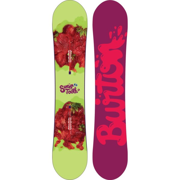 2NDS . If you consider the entire mountain a tasty treat, Burtonand#39;s Sweet Tooth snowboard satisfies your hunger. It has a Flat Top rocker that blends stability and a playful feel, with a lightweight design that can be ridden 5cm shorter than your usual board. Available Colors: 141 GREEN/STRAWBERRIES/PURPLE/PINK LOGO BOTTOM, 145 BLUE/STRAWBERRIES/PINK/GREEN LOGO BOTTOM, 148 GREEN/STRAWBERRIES/PURPLR/PINK LOGO BOTTOM, 141 GREEN/STRAWBERRIES/PINK/PURPLE LOGO BOTTOM, 148 GREEN/STRAWBERRIES/PINK/PURPLE LOGO BOTTOM, 145 BLUE/STRAWBERRIES/GREEN/PINK LOGO BOTTOM.