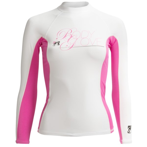 CLOSEOUTS . Body Gloveand#39;s Deluxe rash guard offers stretchy-soft, quick-drying protection from UV rays and nippy waters, complete with articulated flatlock comfort seams and a trim-fitting, stay-put design. Available Colors: RIVER BLUE/WHITE, WHITE/PINK, CLOUDBERRY/GLACIER BLUE, WHITE, BONNIE BLUE, LEMON GRASS/SILVER, ICE GREEN/WHITE, BUTTER/BLUE STEEL. Sizes: M, L, S, XL, XS.